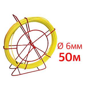Кабельная протяжка, стеклопруток 6мм х 50м + 7 наконечников на тележке