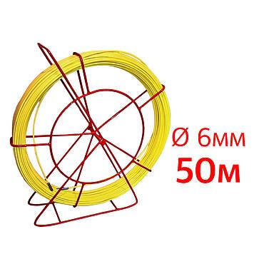 Кабельная протяжка, стеклопруток 6мм х 50м + 2 наконечника на тележке