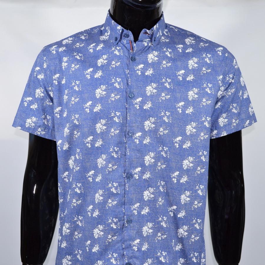 Сорочка чоловіча (приталена) з коротким рукавом Bagarda BG 6535 BLUE 93% бавовна 7% еластан M(Р)