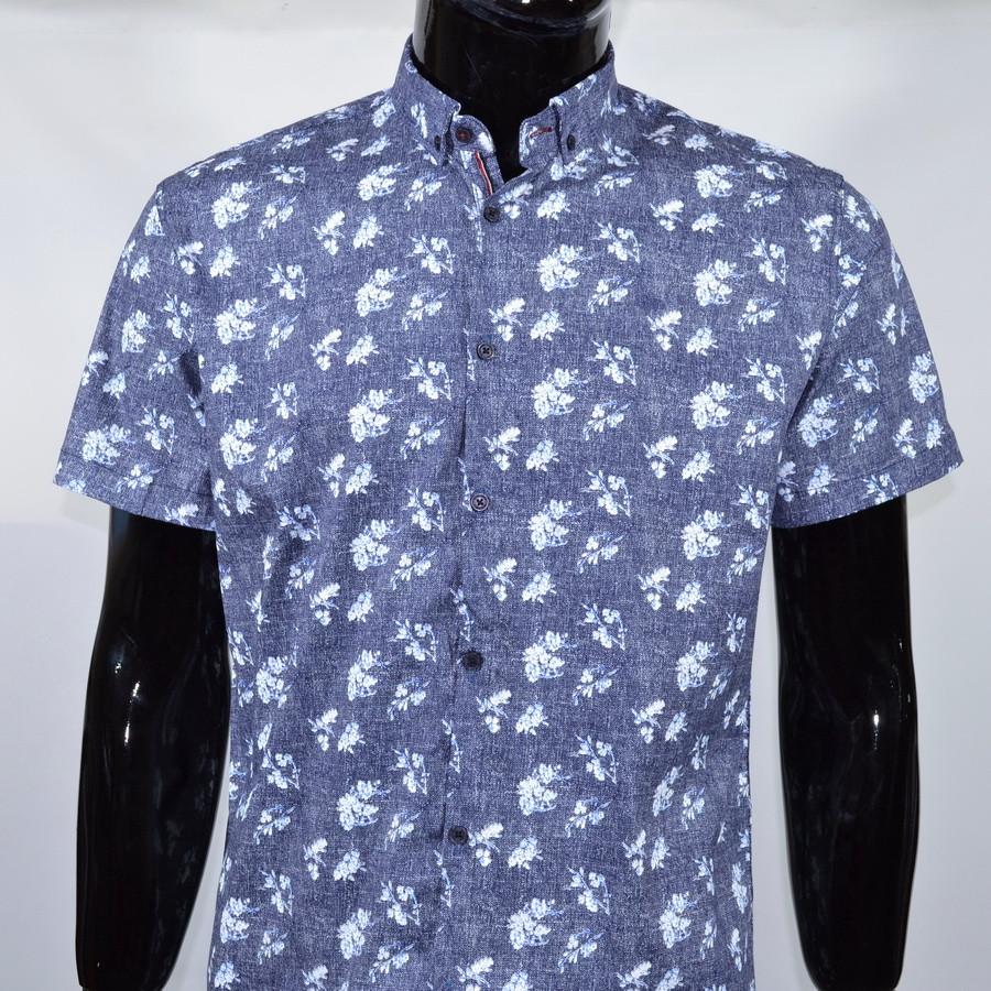 Сорочка чоловіча (приталена) з коротким рукавом Bagarda BG 6535 NAVY 93% бавовна 7% еластан M(Р)