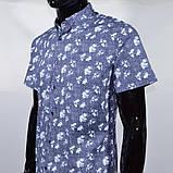 Сорочка чоловіча (приталена) з коротким рукавом Bagarda BG 6535 NAVY 93% бавовна 7% еластан M(Р), фото 2