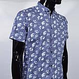 Сорочка чоловіча (приталена) з коротким рукавом Bagarda BG 6535 NAVY 93% бавовна 7% еластан M(Р), фото 3