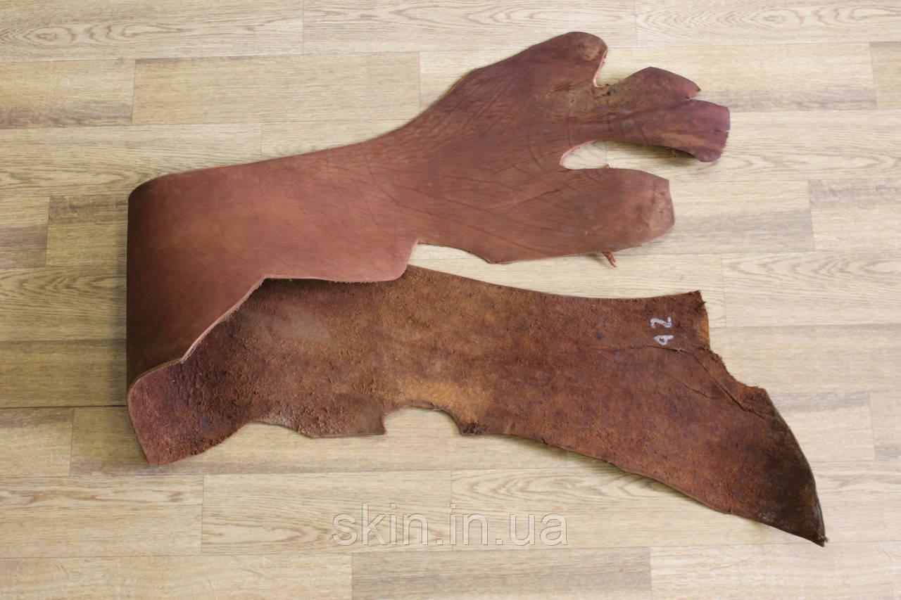 Кожа натуральная ременная в полах, толщина 3.2 мм, коньячного цвета, арт. СК 1680-6