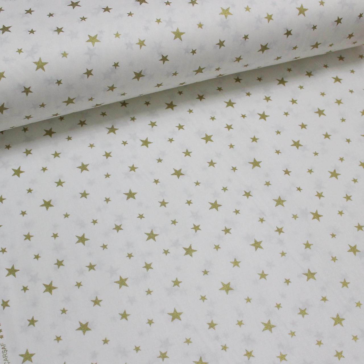 Хлопковая ткань (ТУРЦИЯ шир. 2,4 м) звезды золотые на белом большие и маленькие (глиттер)