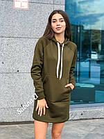 Платье худи на флисе с капюшоном и карманом, фото 1