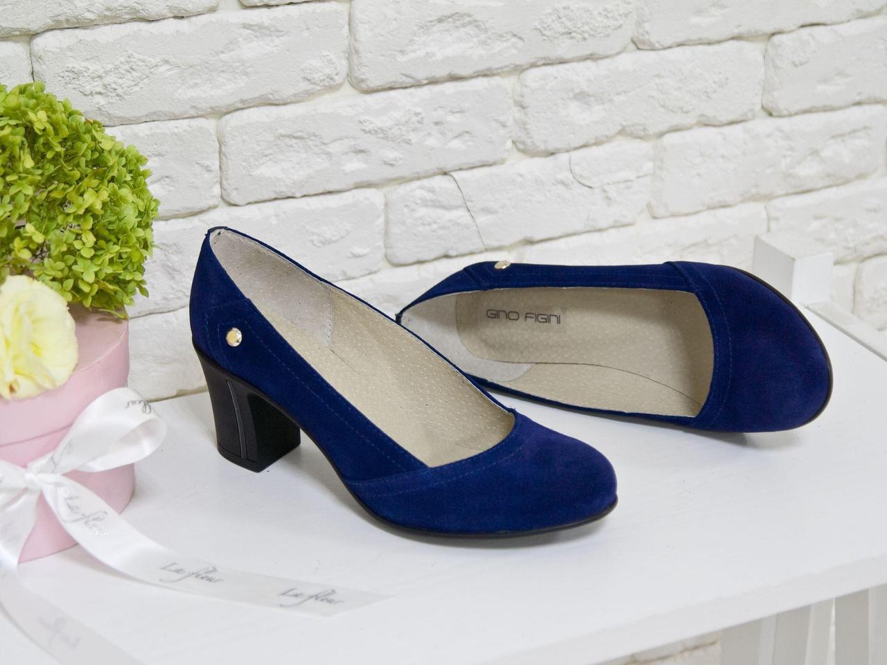 Туфли из натуральной замши синего цвета на устойчивом каблуке, Т-200