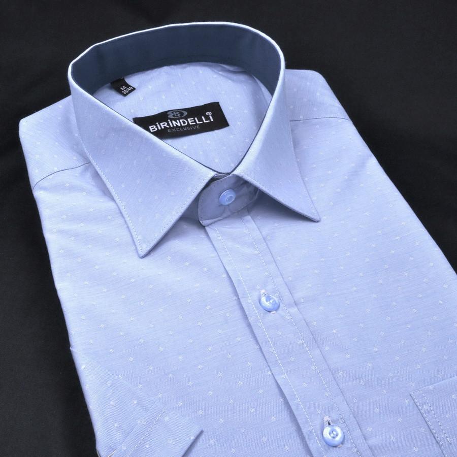 Сорочка чоловіча, прямого покрою, з коротким рукавом Birindelli 03-141 80% бавовна 20% поліестер M(Р)