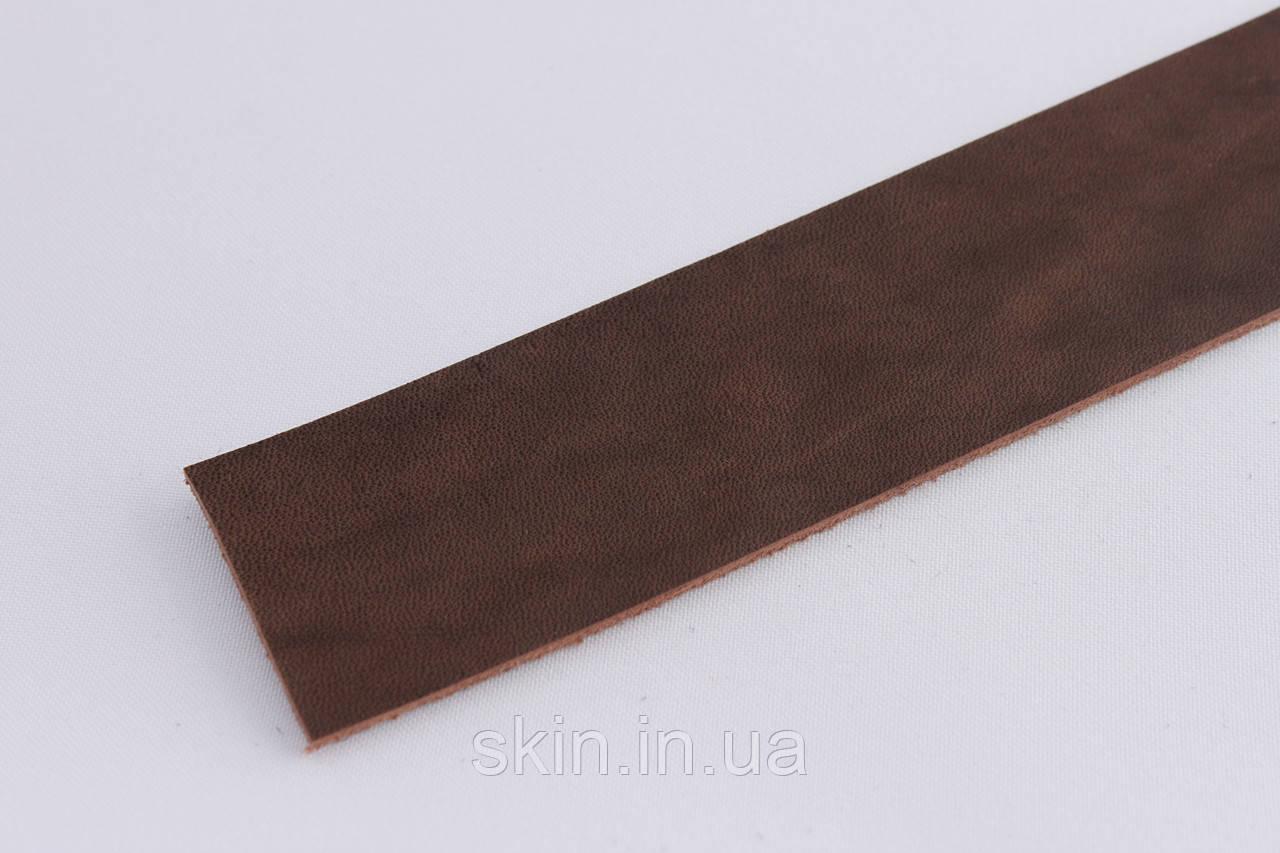 Кожа для браслетов, запряжника, тренчиков коричневого цвета, 25 см.* 3.8 см. * 2.5 мм., арт. СК 1661 запряжник
