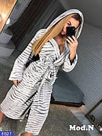 Женский домашний, плюшевый халат с капюшоном