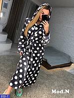 Женский махровый халат с капюшоном