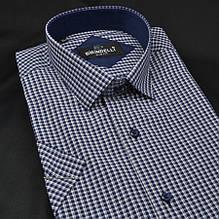 Сорочка чоловіча, приталена (Slim Fit), з коротким рукавом Birindelli в клітинку 014000152 80% бавовна 20%