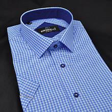 Сорочка чоловіча, приталена (Slim Fit), з коротким рукавом Birindelli в клітинку 014000154 80% бавовна 20%