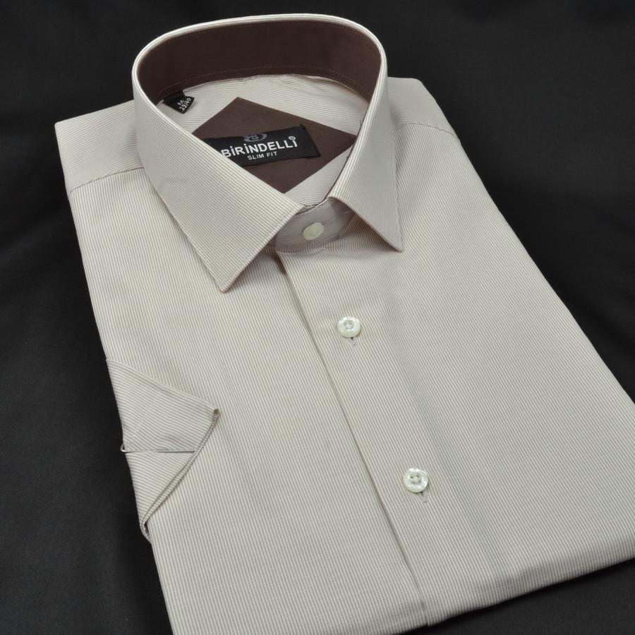 Сорочка чоловіча, приталена (Slim Fit), з коротким рукавом Birindelli в смужку 014000156 80% бавовна 20% поліестер L(Р)