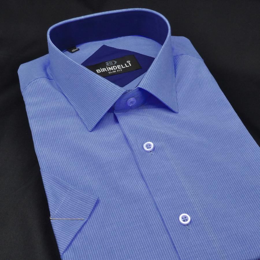 Сорочка чоловіча, приталена (Slim Fit), з коротким рукавом Birindelli в полоску 014000157 80% бавовна 20%