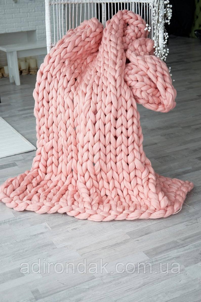 Плед крупной вязки 130х170 см, 100% шерсть мериноса