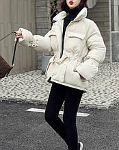 Куртка пуховик женская зимняя с поясом (белая)