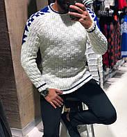 Мужская зимний свитер с воротником белый с синим