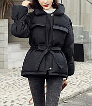 Куртка пуховик женская зимняя с поясом (черная) S