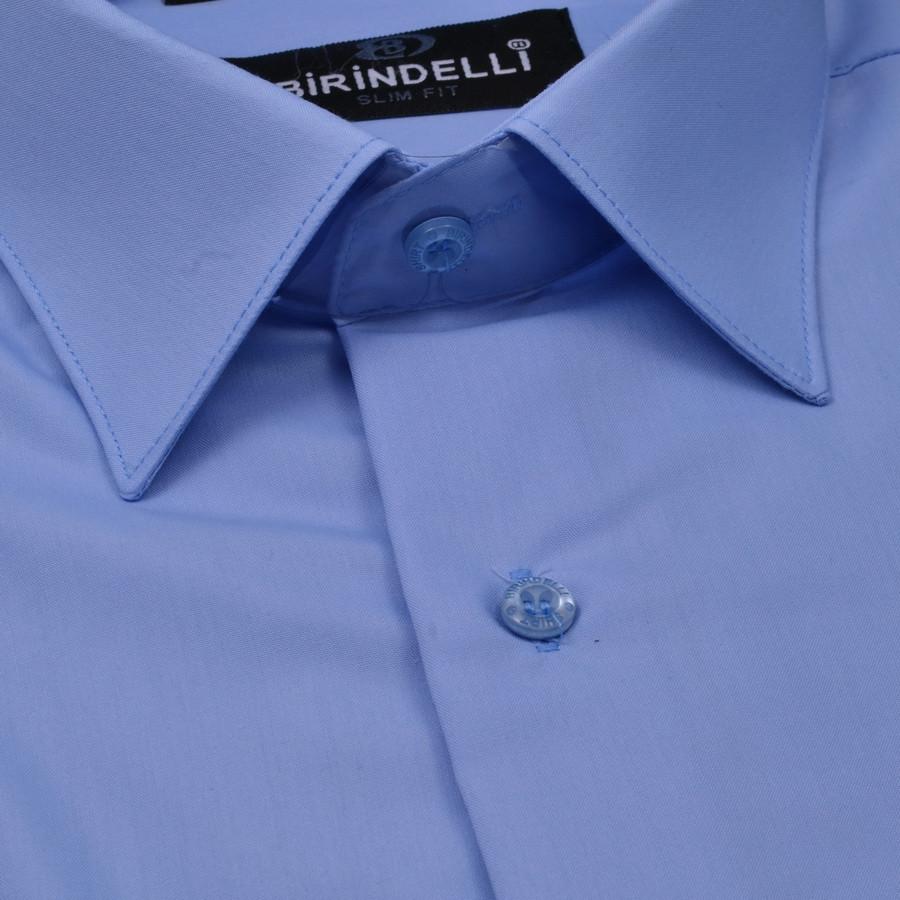 Сорочка чоловіча, приталена (Slim Fit), з коротким рукавом Birindelli однотонна 16-70 80% бавовна 20% поліестер L(Р)