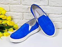 Слиппоны женские из натурального замша цвет синий электрик коллекция лето-весна 2016, Б-442зс