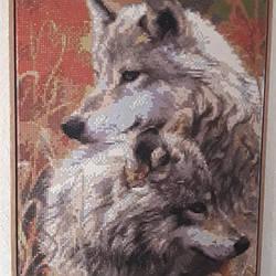 """Картина в раме 50х40см """"Степные волки"""". Алмазная вышивка"""