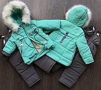 Зимний комбинезон для девочки. на овчине, размер 92-104 , мятного цвета