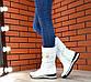 Женские зимние кожаные белые сапоги дутики,сапоги женские зимние кожаные дутые спортивные на меху, фото 2