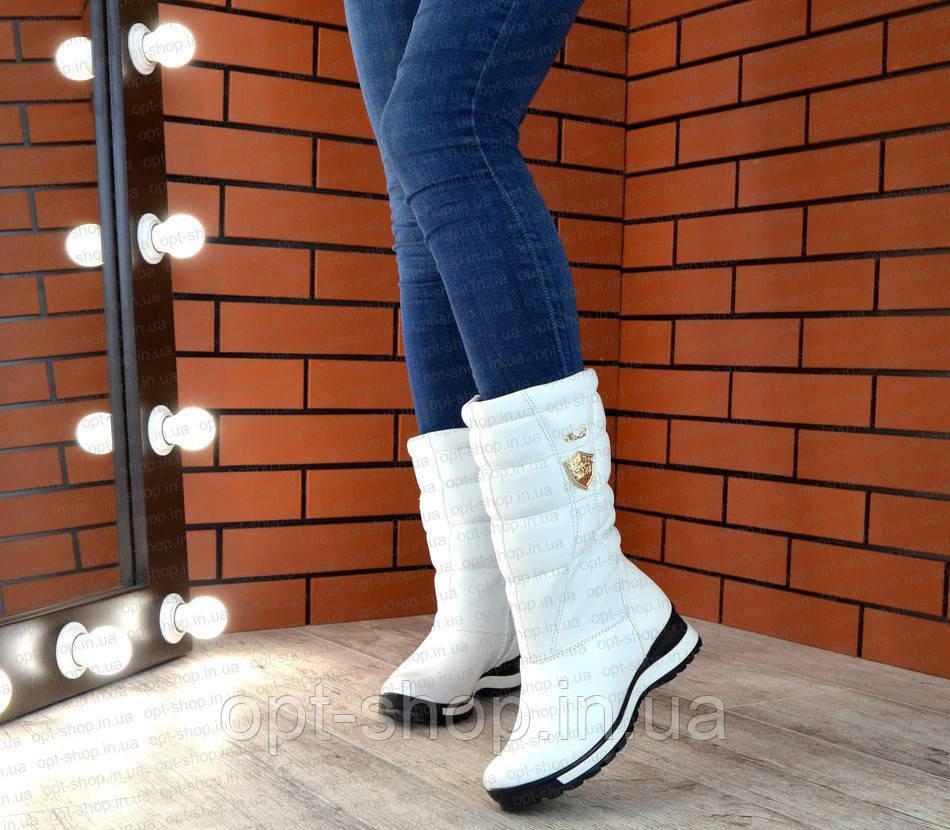 Женские зимние кожаные белые сапоги дутики,сапоги женские зимние кожаные дутые спортивные на меху