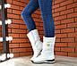 Женские зимние кожаные белые сапоги дутики,сапоги женские зимние кожаные дутые спортивные на меху, фото 4