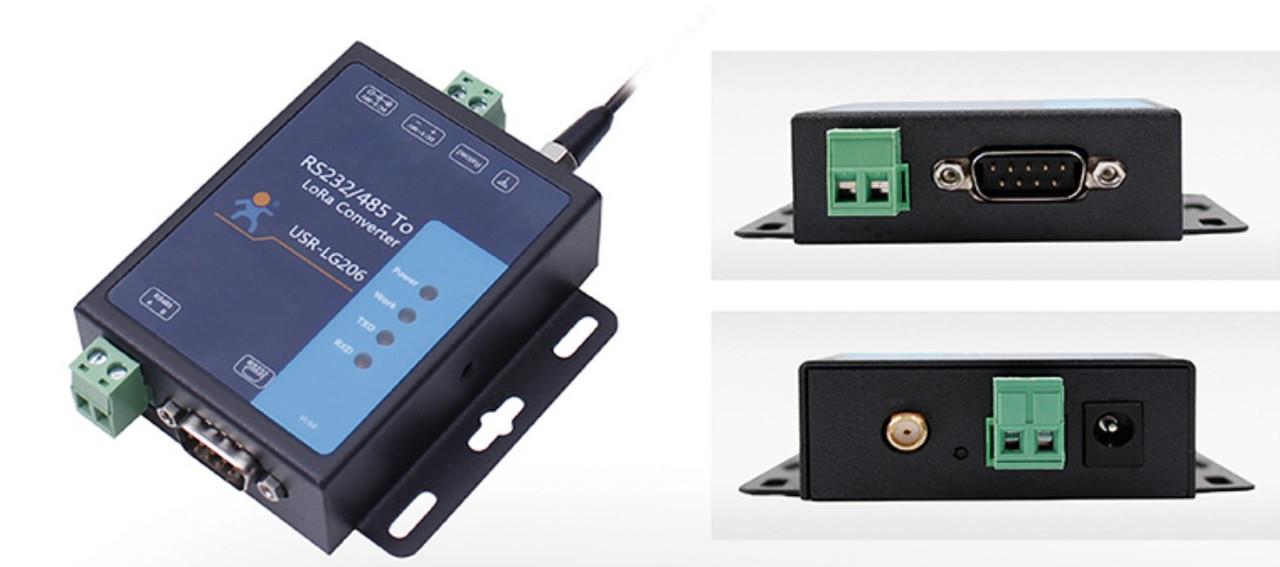 Преобразователь порта USR-LG206-L-P  RS232/RS485 в LoRa 398-525 Mhz