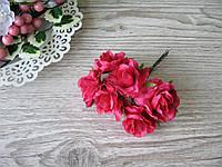 Роза тканевая алая 3.5 см пучок 6 шт - 20 грн