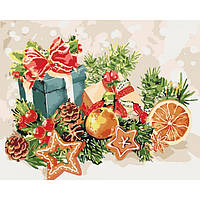 Картина для росписи по номерам без коробки. Новогодние подарки, 40*50 см