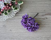 Роза тканевая темно фиолетовая 3.5 см пучок 6 шт - 20 грн, фото 1