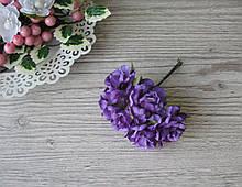 Роза тканевая темно фиолетовая 3.5 см пучок 6 шт - 20 грн
