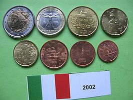 Италия, набор евро монет 2002 г. UNC.