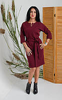 Платье до колен с пояском бордового цвета 44-52