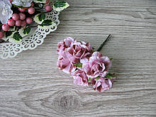 Роза тканевая розовая 3.5 см пучок 6 шт - 20 грн