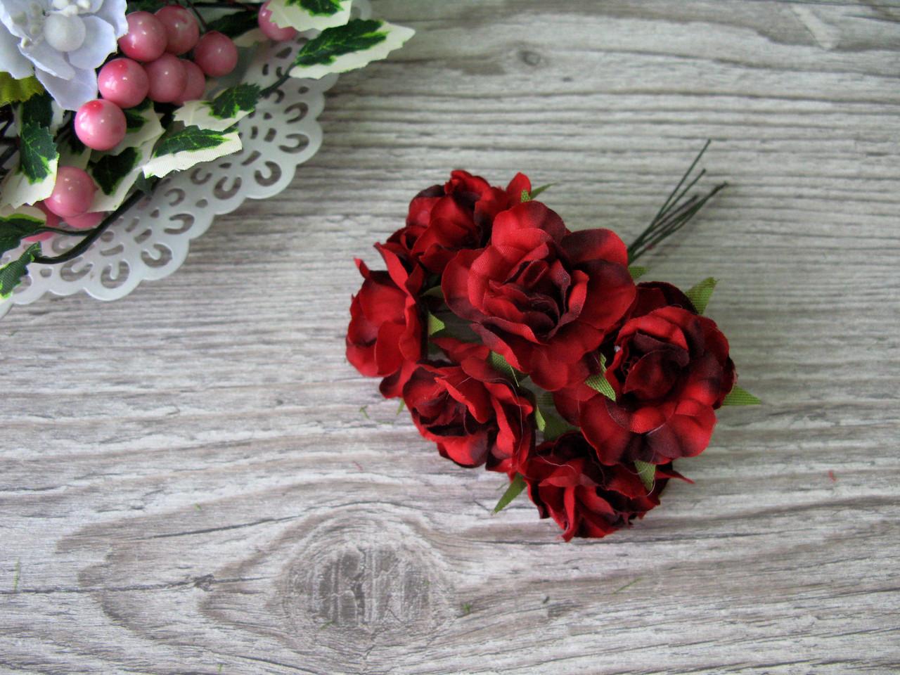 Роза тканевая красная 3.5 см пучок 6 шт - 20 грн