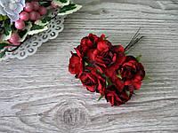 Роза тканевая красная 3.5 см пучок 6 шт - 20 грн, фото 1