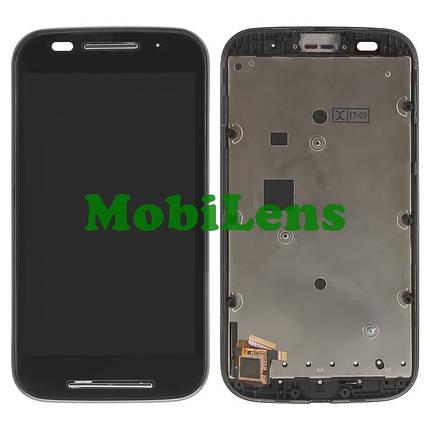 Motorola XT1021, Moto E, XT1022, XT1025 Дисплей+тачскрин(модуль) черный в рамке, фото 2