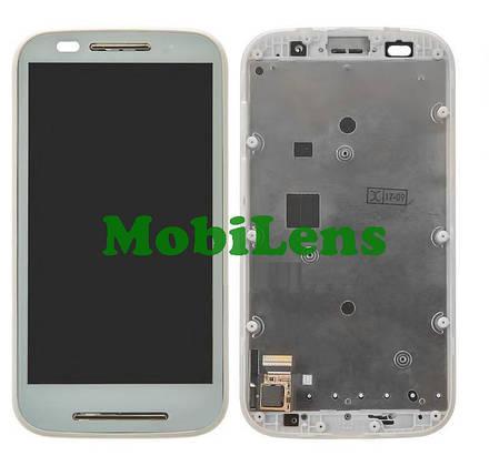 Motorola XT1021, Moto E, XT1022, XT1025 Дисплей+тачскрин(модуль) белый в рамке, фото 2