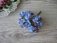 Роза тканевая голубая 3.5 см пучок 6 шт - 20 грн