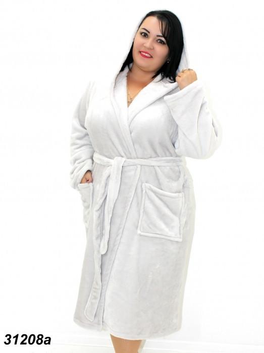 Женский серый махровый халат большого размера 54(2XL). 56(3XL). 58(4XL)