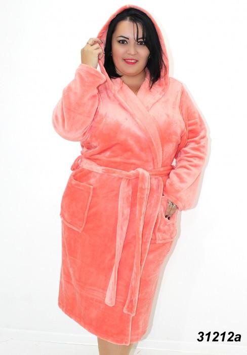 Женский персиковый махровый халат большого размера 54(2XL). 56(3XL). 58(4XL)