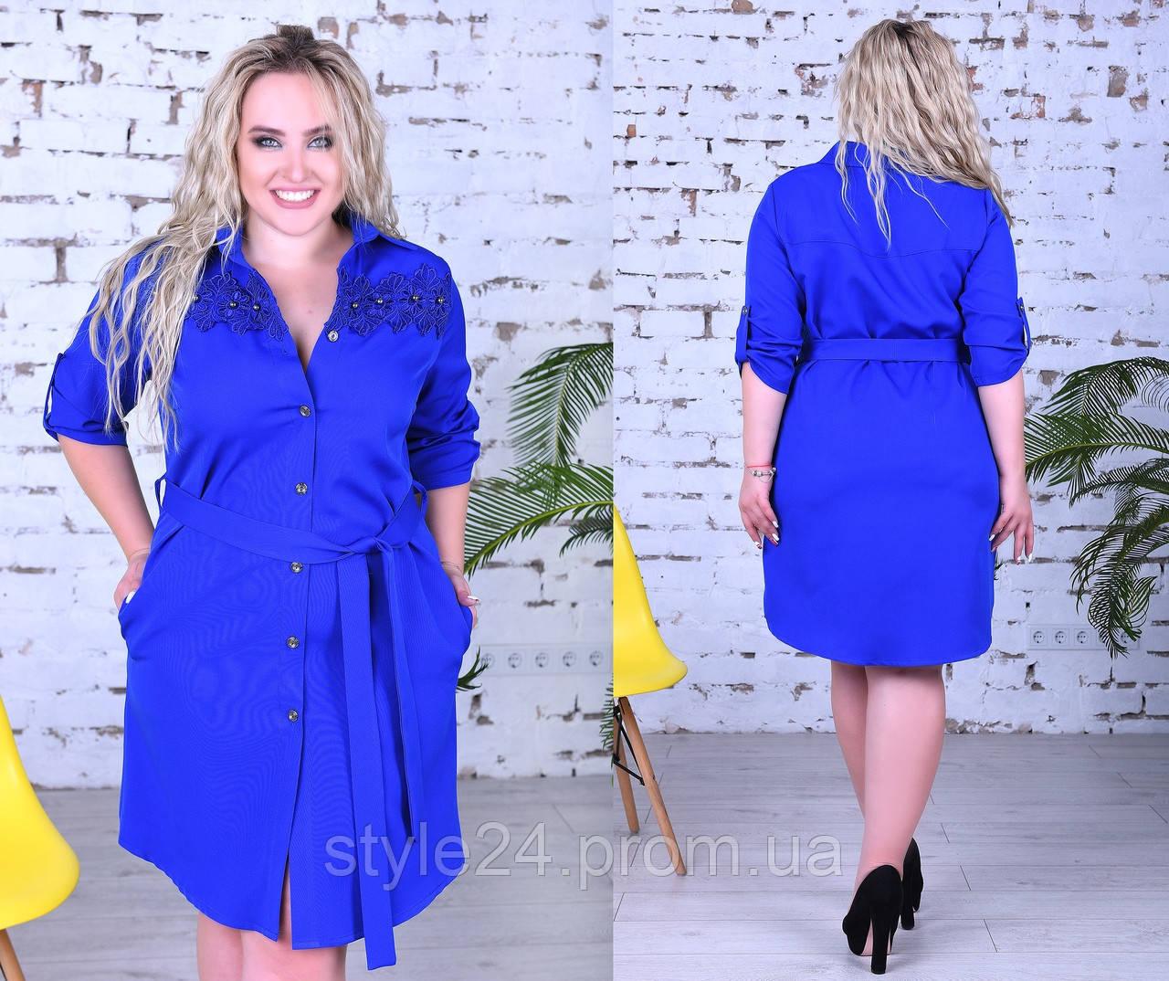 Батальне плаття  кружевом та жемчугом, 2 кольори.Р-ри 50 -56
