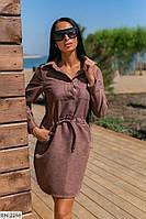 Платье -рубашка на кулисе, микро вельвет. Размер: 46, 48, 50, 52 Цвет: капучино, джинс, бордо.  Ткань: микрови