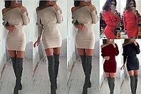 Трикотажное платье мини, фасон - летучая мышь, 6 цветов