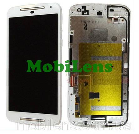 Motorola XT1063, XT1062, XT1064, XT1068, Moto G2 Дисплей+тачскрин(модуль) белый *в рамке, фото 2