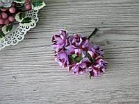Роза тканевая сиреневая с коричневым 3.5 см пучок 6 шт - 20 грн, фото 1