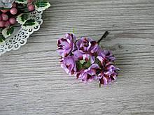 Роза тканевая сиреневая с коричневым 3.5 см пучок 6 шт - 20 грн